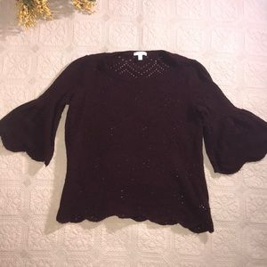 LC Bell Sleeve Sweater Size M Wine Color